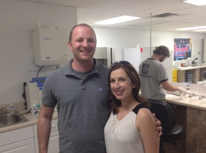Jolene, Chief Doo Officer, and Nate, Vice President of Turd Management, at PooPrints lab